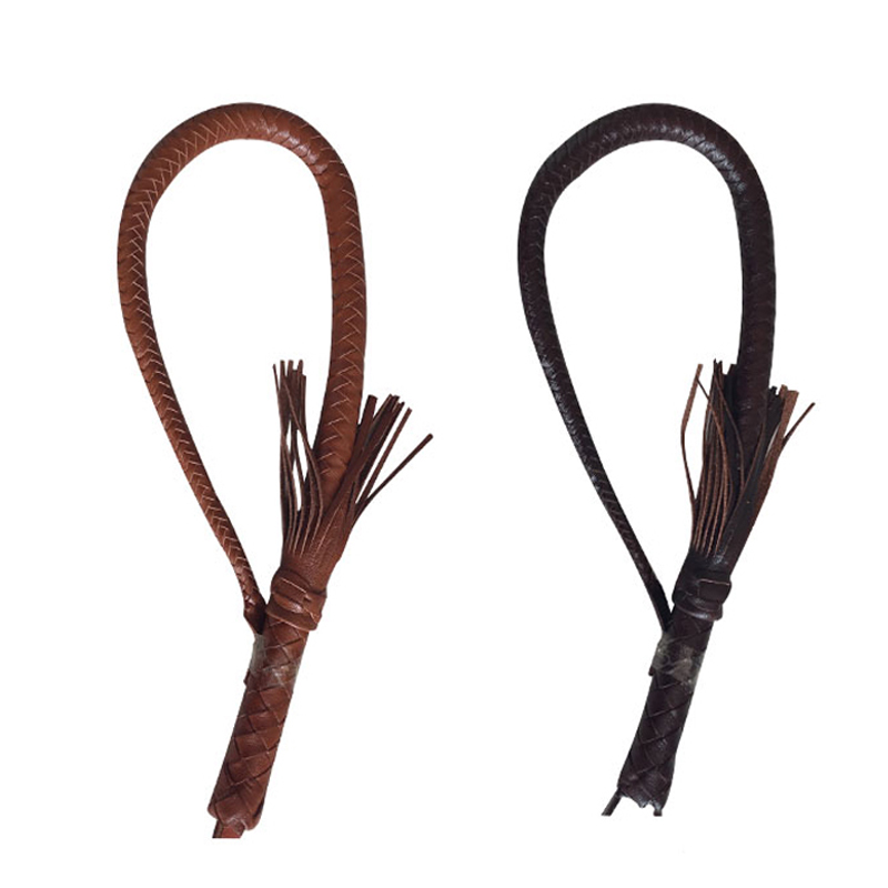 80cm Leather Whip Riding Crops Party Handle Flogger Queen Black Horse Whip for Horse Racing Riding Equestrian Entertainment