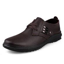 Модная мужская обувь в деловом стиле мужские кожаные оксфорды Формальные Обувь на шнуровке весна-осень мужчин Обувь на плоской подошве черного и коричневого цветов Размер 10.5 2928