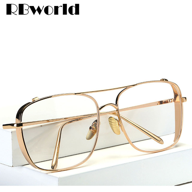 281fc1813fc 2017 New Brand Gold Clear Eyeglasses Frame Men Big Myopia Glasses Women  Computer Glasses Frame Business