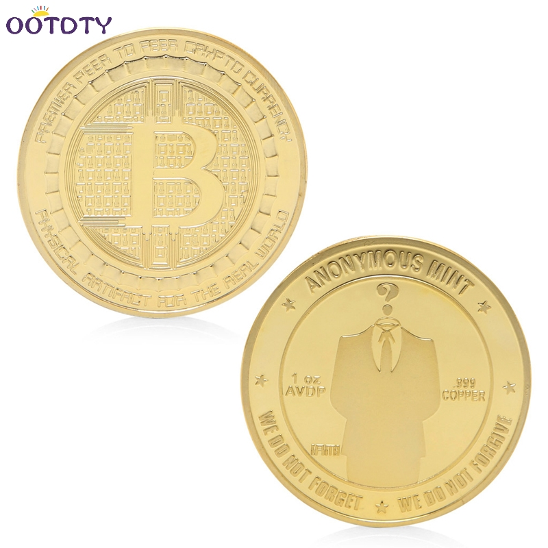 2017 Gold Plated Anonymous Mint Bitcoin Commemorative Coins Collection Souvenir Gift Jun ...