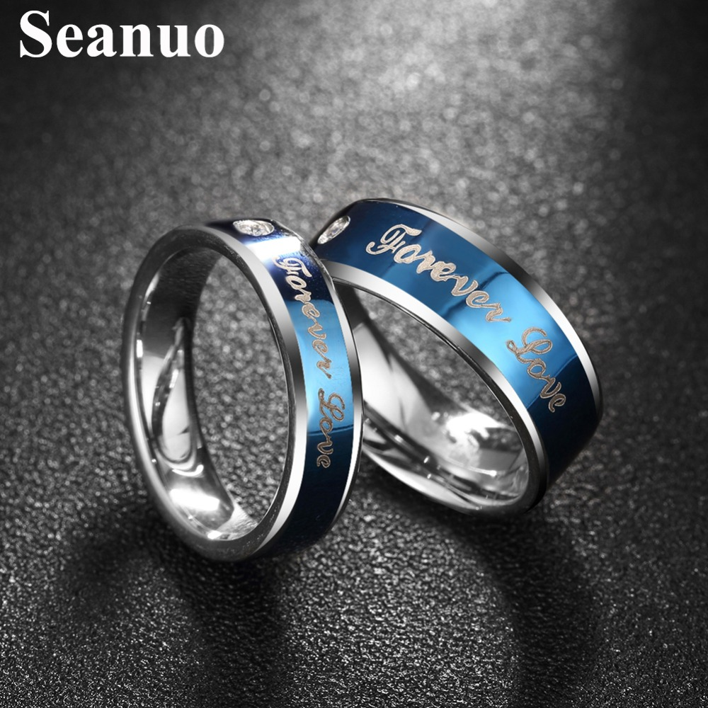 new novelty unique mens wedding rings promotion unique mens wedding rings Seanuo Blue Forever Love couple Valentine s Day ring jewelry fashion unique men women stainless steel anniversary wedding rings