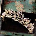 Золото розовый тиара барокко корона кристалл rhinestone тиары кроны оголовье лента для волос свадебный волосы ювелирные изделия свадебные аксессуары A449