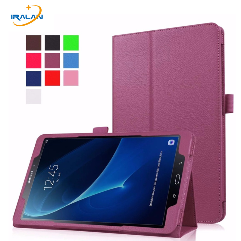 Case For Samsung Galaxy Tab A 10.1 2016 T580 T585 Flip Litchi PU Leather Stand Back Cover for Tab A SM-T580 SM-T585N+film+stylus