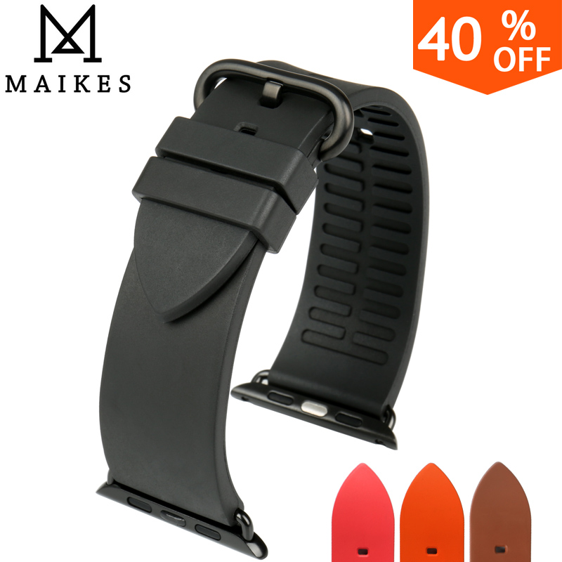 MAIKES quality watch accessories black rubber watch strap for sports apple watch band 42mm 38mm series 1 & 2 iwatch watchbands