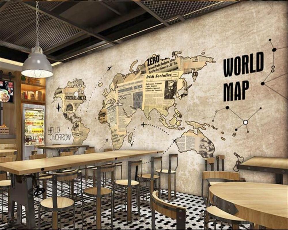 beibehang custom 3d wallpaper retro world map newspaper bar cafe