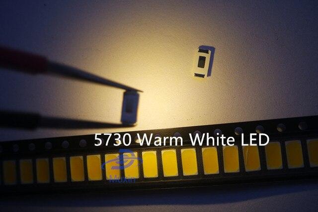 100pcs 5730 SMD LED 50-55 LM Lamp 0.5w light-emitting Diode Chip Warm white for LED CCT:2800-3000K Still 3V