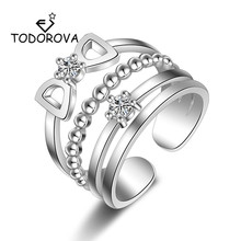 Todorova Sparkling Zirconia Crystal Bowknot Multilayer Wedding Rings for Women Fashion Engagement Ring