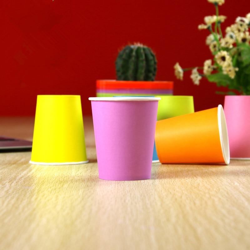 컬러 종이 컵 50pcs / 팩 파티 종이 컵 일회용 웨딩 - 휴일 파티 용품 - 사진 4