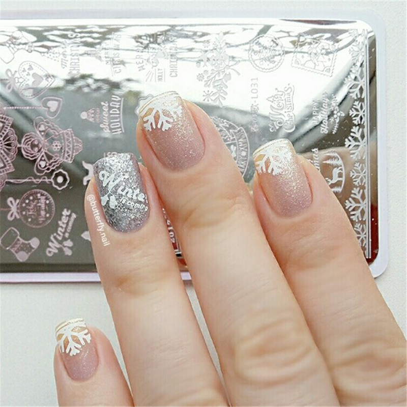 Rectangle Christmas Nail Stamping Plate Template Stencils Winter