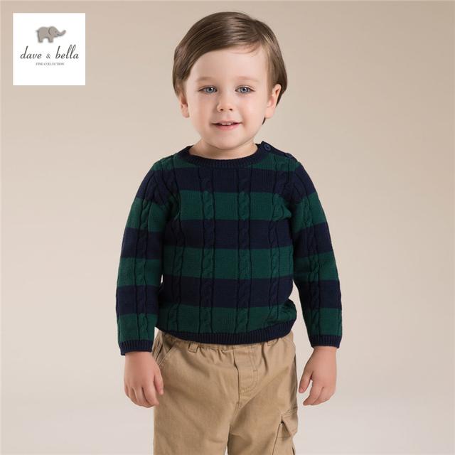 DB4253 dave bella outono bebê meninos suéter listrado verde vermelho vinho safira têxteis meninos suéter listrado