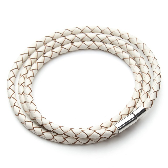 Genuine Braided leather bracelet With magnetic Clasps