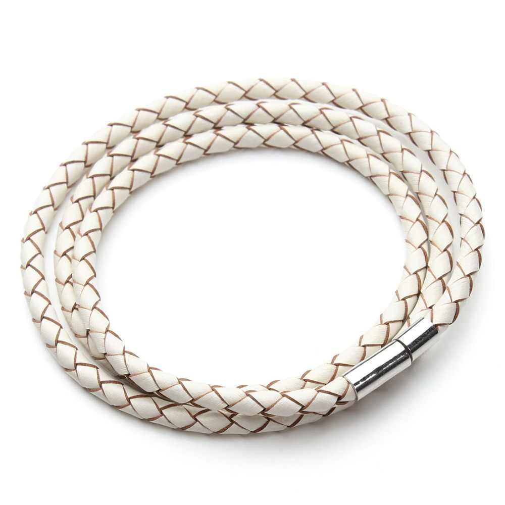 2019 New Fashion 100% pleciony pasek z prawdziwej skóry bransoletka mężczyźni kobiety zapięcia magnetyczne Charm bransoletki Pulseras mężczyzna damska biżuteria