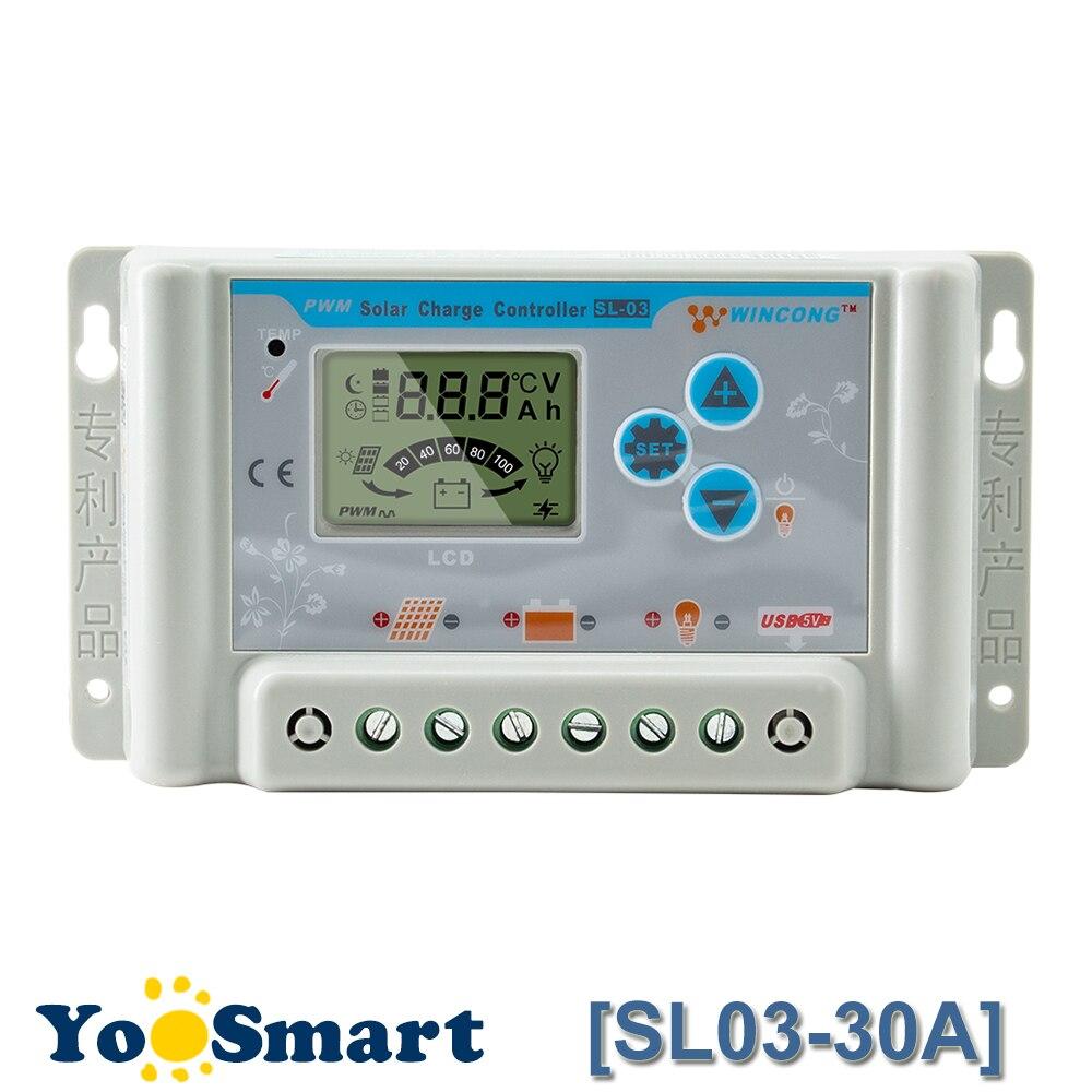 PWM 30A Solare Regolatore di Carica 12 V 24 V USB Display LCD Parametro Regolabile per Li LiFePO4 al litio Li-Ion BatteriePWM 30A Solare Regolatore di Carica 12 V 24 V USB Display LCD Parametro Regolabile per Li LiFePO4 al litio Li-Ion Batterie