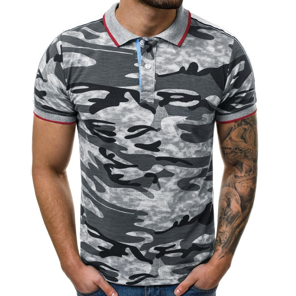 2019 summer   polo   shirt men brand clothing cotton short sleeve Camouflage military designer homme camisa breathable plus size 3XL