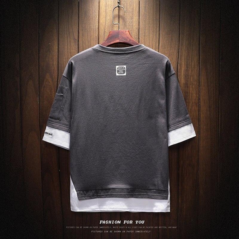 Men's Short Sleeve T-shirt 5-5 Sleeve Summer Korean Fashion Hip-hop Fake Two Loose Chao Brand 7-Sleeve Half Sleeve male MP191 4