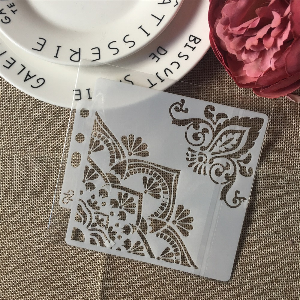 1Pcs 13cm Flower Edge DIY Layering Stencils Wall Painting Scrapbook Coloring Embossing Album Decorative Paper Card Template