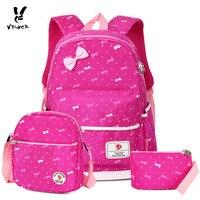 Vbiger 3 In 1 School Bag Waterproof Nylon Shoulder Daypack Polka Dot Bookbags Backpacks Cell Phone