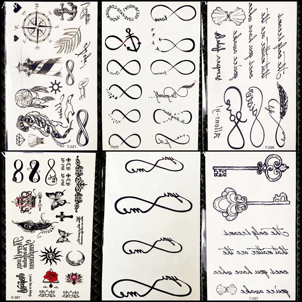 25 Style Black Infinite Temporary Tattoo Stickers Women Hands Fake Tattoo Endless Men Finger Waterproof Tatoos Small Paste
