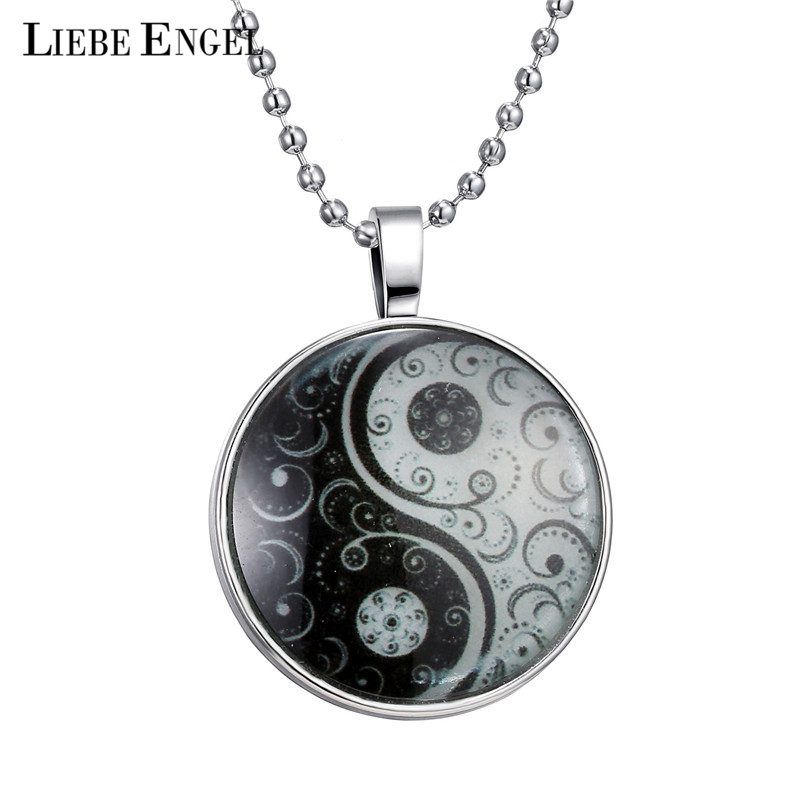 LIEBE ENGEL Necklace Glass Cabochon Statement Silver Long Bead Chain Pendant Necklace Glow In Dark Accessories Fine Jewelry