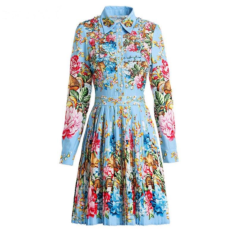 Svoryxiu elegancki Runway wiosna lato plisowana krótka sukienka damska uroczy kwiatowy Print diamenty moda sukienek vestidos w Suknie od Odzież damska na  Grupa 3