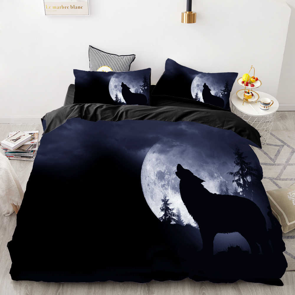 3D Print Bedding Set Custom,Duvet Cover Set King/Europe/USA,Comforter/Quilt/Blanket Cover Set,Animal Moonlight wolf Bedclothes