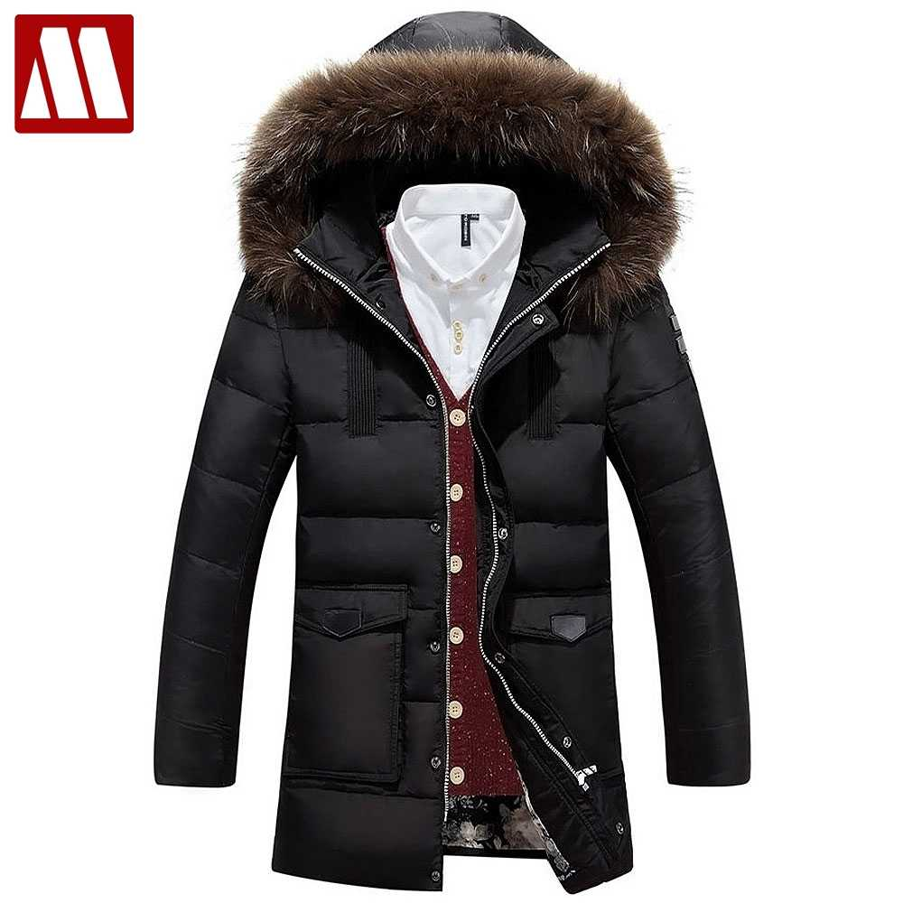 e33f222fe New 2019 Men's Down Jacket Brand Clothing High Quality Man Fashion Warm Hooded  Fur Collar Winter