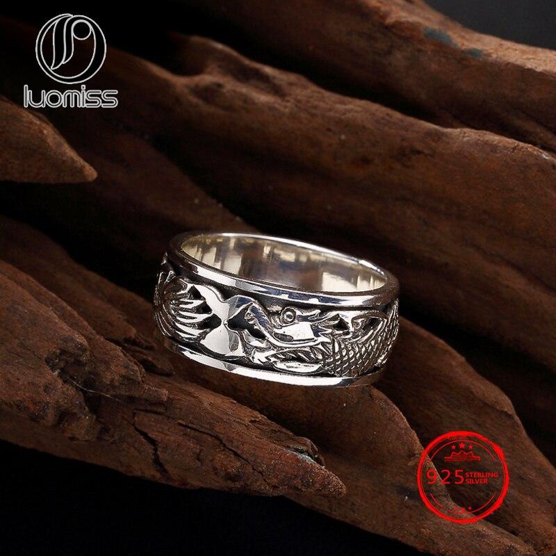 100% S925 Sterling Silber Ring Klassische Retro Drachen Gravierte Öffnung Form Rock Schmuck Party Geschenk Um Jeden Preis