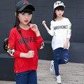 Girls T-shirt 2017 new spring Korean children clothing girl's cartoon fashion shirt letters long sleeve t-shirt