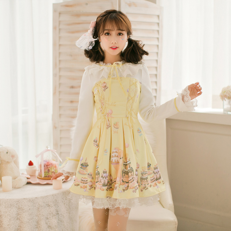 Princess Sweet Lolita Yellow Dress Candy Rain Bow And Lace Decoration Line Collar