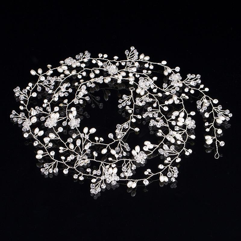 Long Tiara Bridal Headbands Wedding Headpiece Pearl Jewelry - Նորաձև զարդեր - Լուսանկար 2