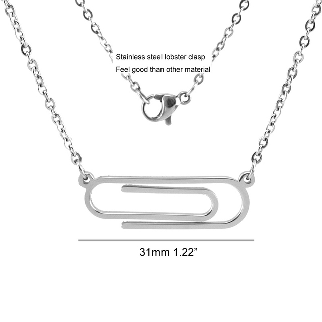 Women Necklace Stainless Steel Paper Clip Pendant Office Clip Necklaces Female Lovely Jewelry Rolo Chain Mirror Polished