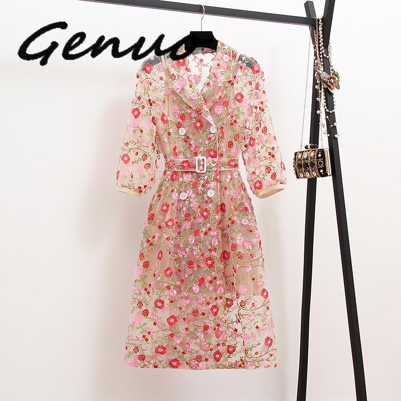 Vintage Gauze Flower Embroidery Overlay   Trench   Coat Women Double-Breasted Notched Lantern Sleeve Belt Mesh Long Coat Outerwear
