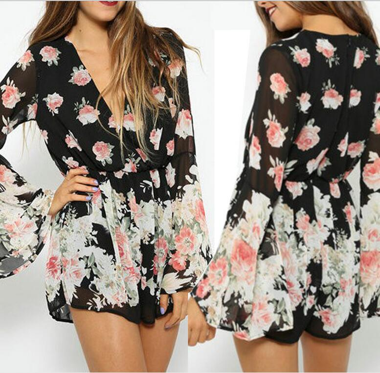 Summer 2016 jumpsuit women Sexy deep v neck printing jumpsuit romper Casual butterfly sleeve short overalls