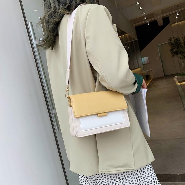 Contrast color Leather Crossbody Bags For Women 2019 Travel Handbag Fashion Simple Shoulder Messenger Bag Ladies Mini Flap Bag
