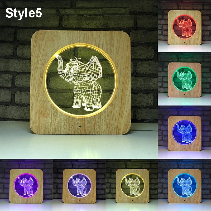 3D Animal Night Light Panda Bear Elk LED Table Lamp 7 Colors Change Night Light Multicolor RGB Lamp Home Desktop Decor for Kid in LED Night Lights from Lights Lighting