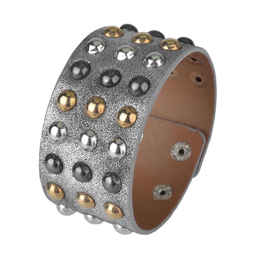 Kirykle wielowarstwowe złoty srebrny czarny nit łańcuchy Punk szeroki mankiet skórzane bransoletki bransoletki kobiety urok nadgarstek Wrap Bangle