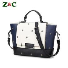 4b5b2d75d9833 Designer-handtaschen Schwarz Blau Weiß Patchwork Tasche Fashion Damen  Schulter Trapeze Bags Handtaschen frauen Berühmte Marke Sa.