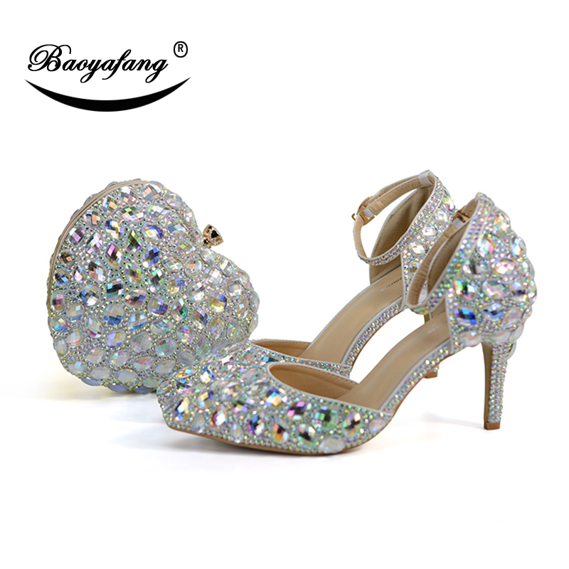 BaoYaFang AB crystal royal blue Fucshia Heart handbags and shoes woman Luxury Wedding shoes Ankle strap