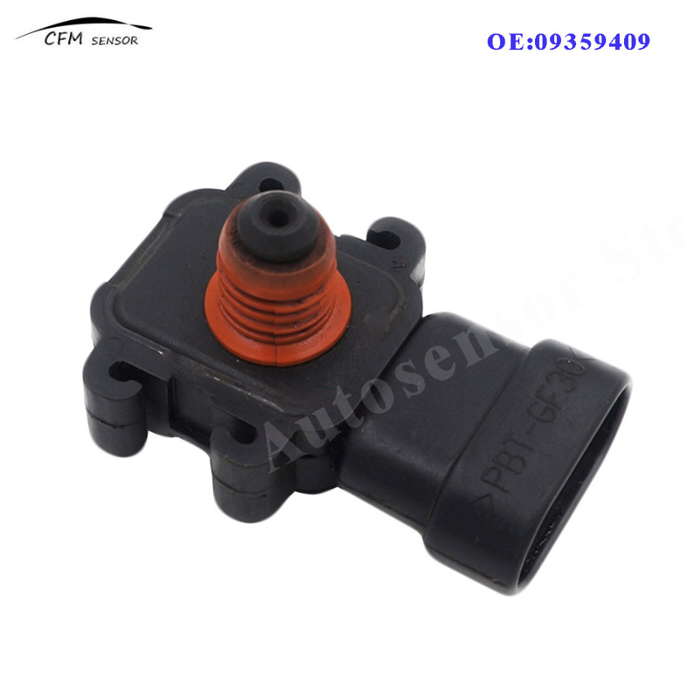 Manifold Air Intake Pressure Sensor Map Sensor for Chevrolet Cadillac Buick Pontiac GMC Absolute Pressure Map Sensor Replaces 09359409