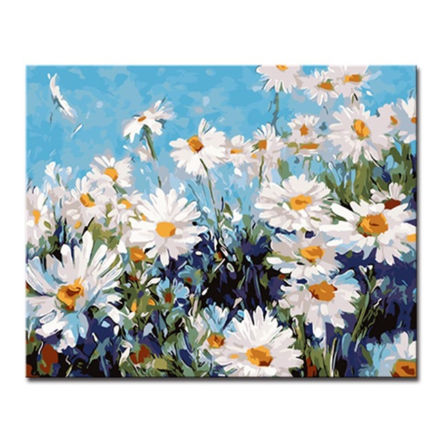 Wall Art Frame DIY Oil Painting By Numbers Drawing White Flowers Daisy Pictures Digital Coloring On Abstract Canvas Home Decor