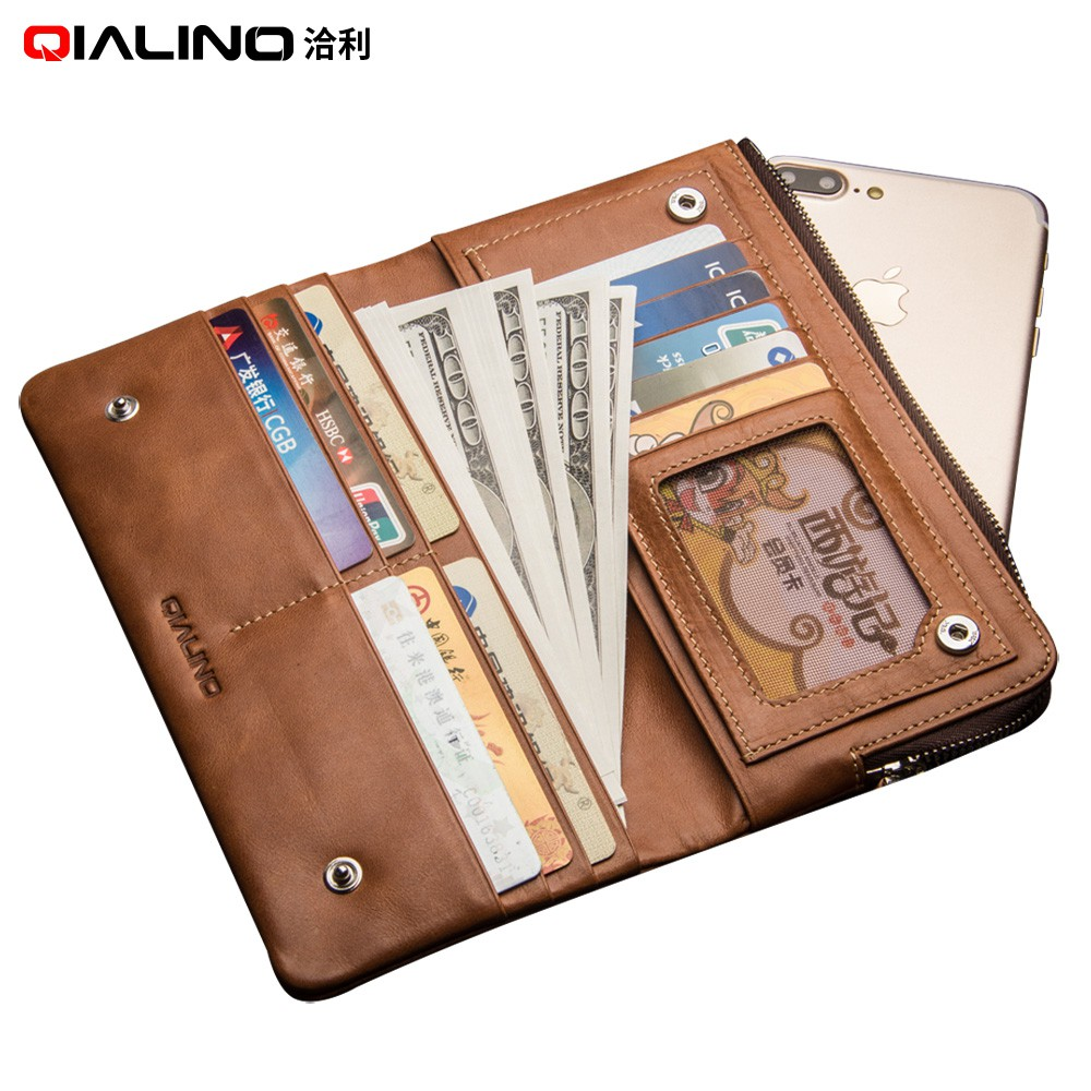 Fashion holster for iphone 7 & iPhone 7 plus Handmade Genuine Leather Wallet Case for iPhone 6s slots for cards 4.7/5.5 inch