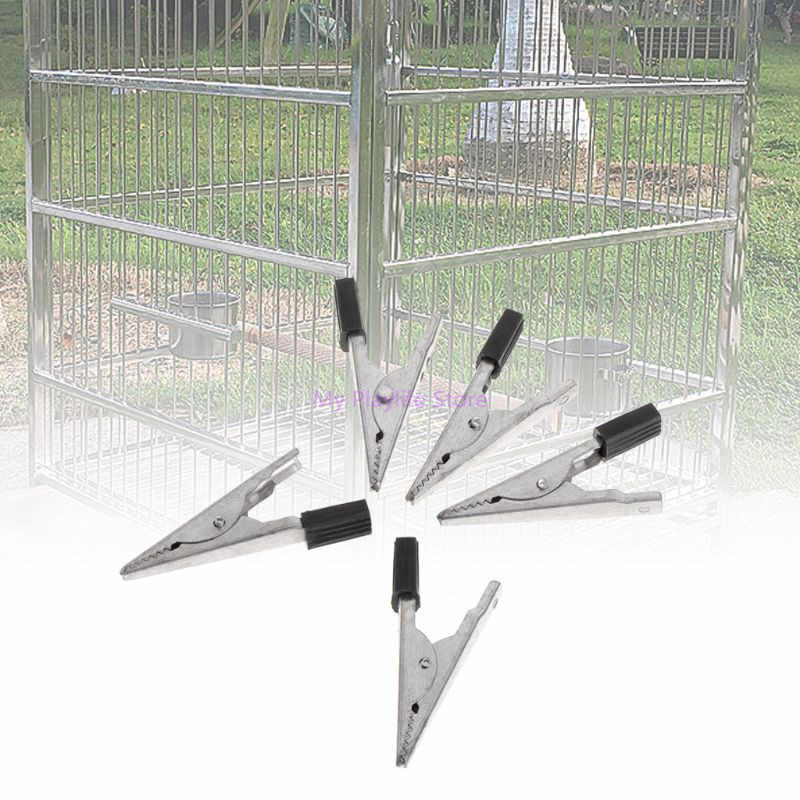 5pcs Cage Clip Parrots Birds Prevent Escape Metal Safety Door Lock Accessories Bird Cage Supplies C42