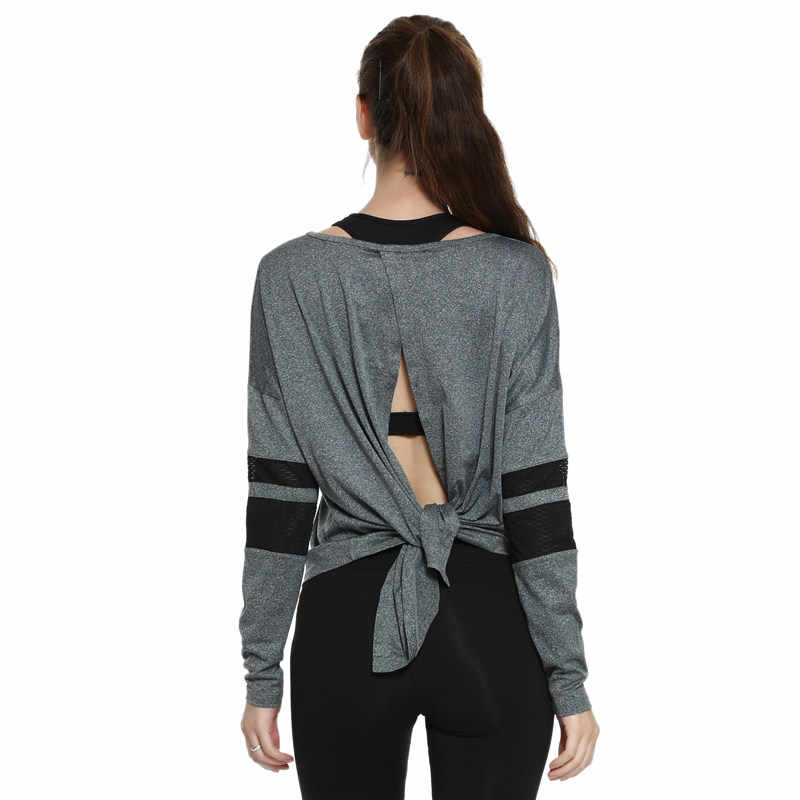 [إزالة] النساء الرياضة T قميص ، الجوف خارج عارية الذراعين اللياقة البدنية اليوغا قمم ، تنفس شبكة ملابس رياضية طويلة الأكمام تشغيل قميص S/M/L