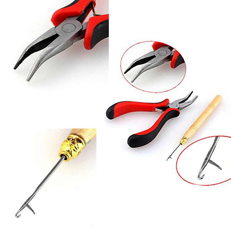 Dropshipping Haar Verlängerung Werkzeug Kit Zange + Ziehen Haken + 100 Pcs Link Ringe Perlen Haar Styling SMJ