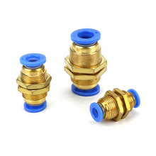 PM 4/6mm 8mm 10mm 12mm OD Air Pneumatic Straight Bulkhead Union  Hose Tube One Touch Push Into Gas Connector Brass Quick Fitting py8 pneumatic 8mm tube push in connector y union py 8 one touch air quick fitting py5 16