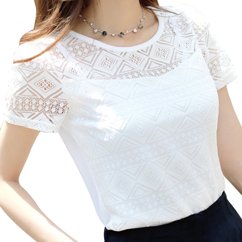 Blouses & Shirts Conscientious Sexy Women Lace Blouse Tops Summer See Through White Crochet Flare Long Sleeve Bandage Shirts 2019 Mesh Sheer Dot V Neck