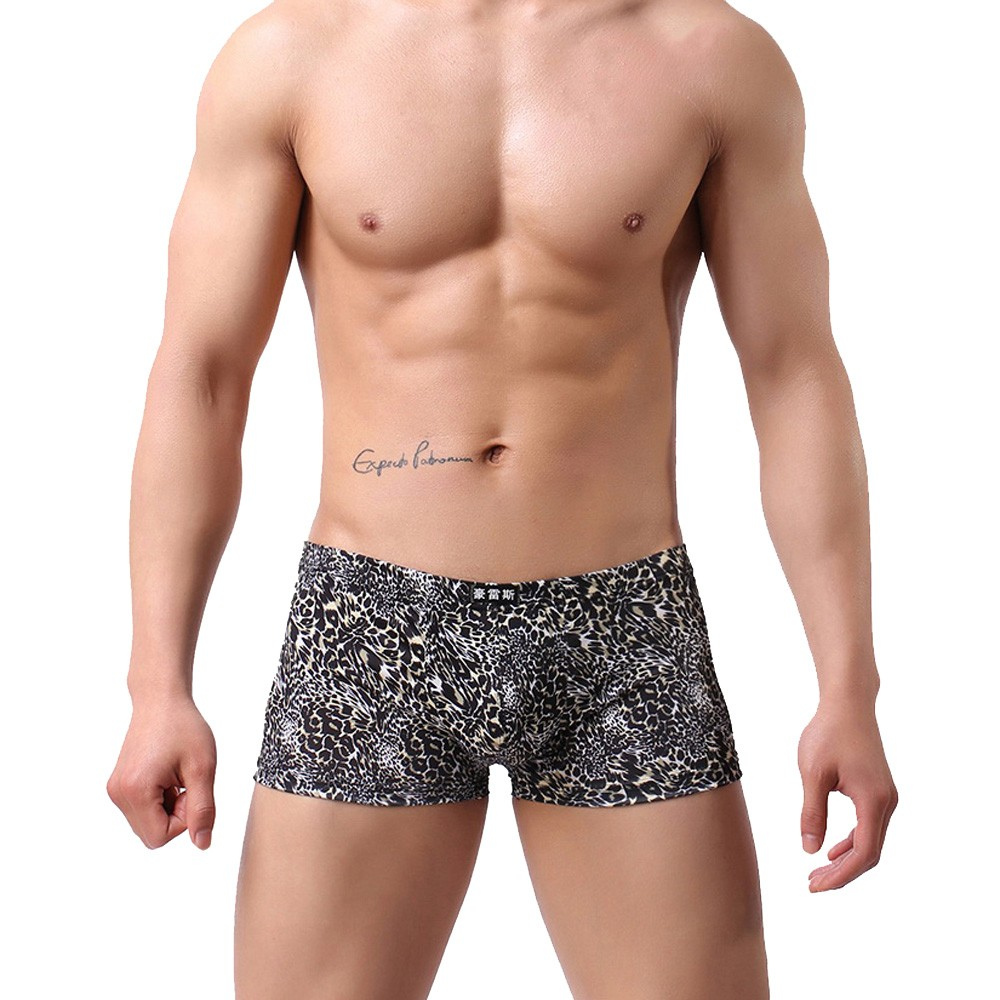 Men's Underwear Boxer Sexy Breathable Printed Leopard Casual New Fashion And Low-Waist