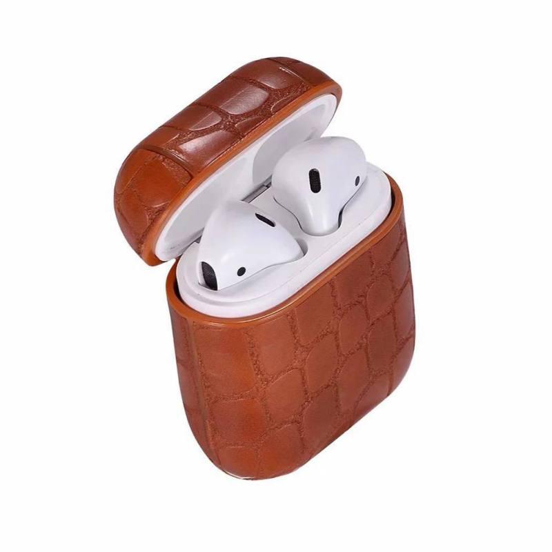 Étui de protection pour AirPods Pierre Motif Léger Portable Écologique PU couverture en cuir Casque Protecteur avec Mousqueton