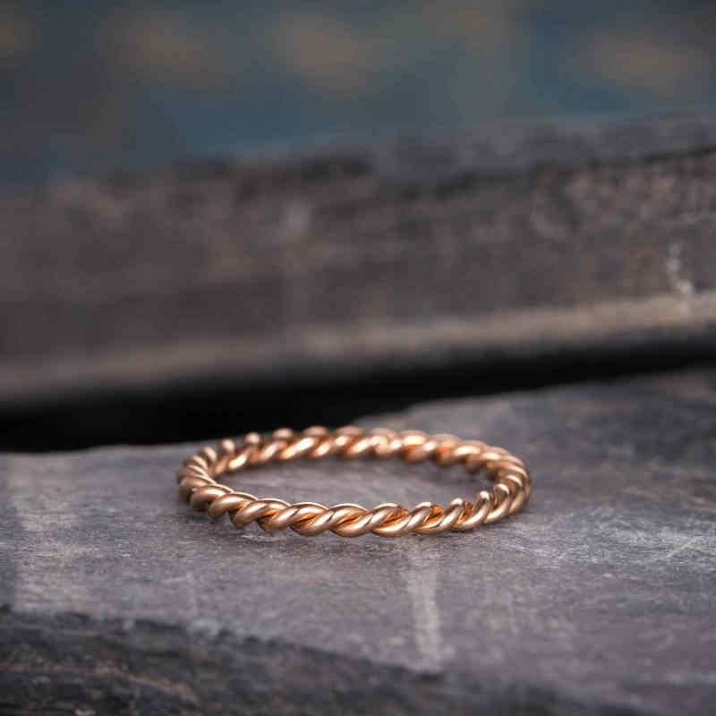 แฟชั่น dough Twist แหวนนิ้วมือ Rose Gold Filled PARTY งานแต่งงานแหวนผู้หญิงเครื่องประดับขายส่ง
