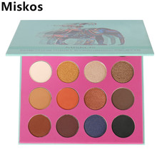 Miskos Brand 16 Colors Eyeshadow Palette Wet Powdered Matte Glitter Diamond Eye Shadow Makeup Palette New Process Green elephant